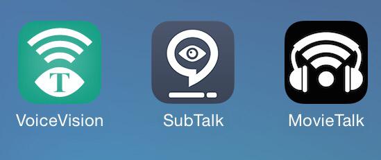 Bilden visar tre appar för syntolkning. Apparna heter VoiceVision, SubTalk och MovieTalk.