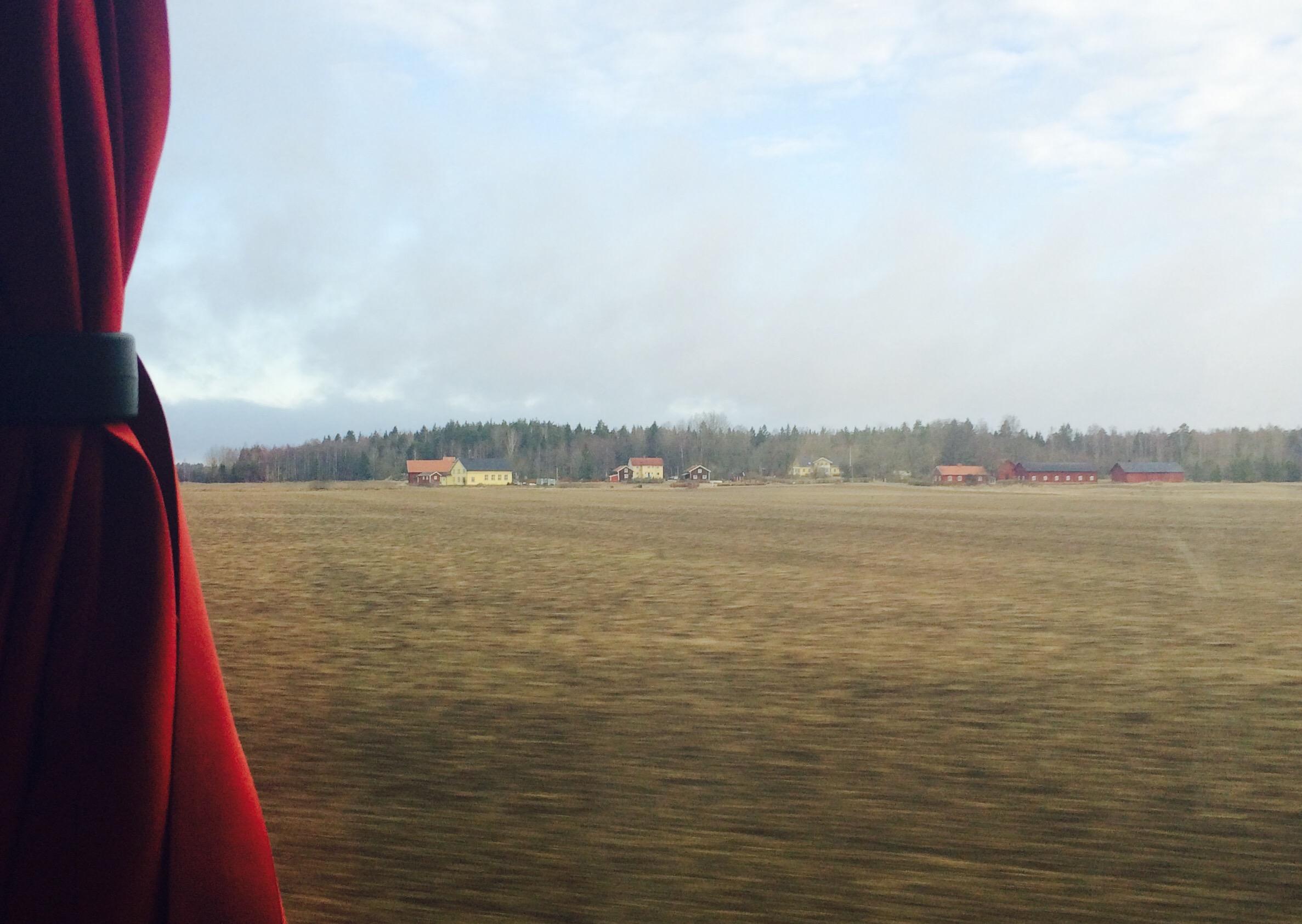 Utsikt genom bussfönster. Bakom en åker skymtar hus och långt bort en skog.